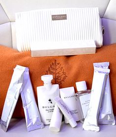 "Bvlgari toiletries are provided for all Four Seasons Private Jet guests. ""Women's kits come in a white bag and include hand cream, lip balm, refreshing towels, face emulsion cleanser, hand sanitizer, breath mints, and a dental kit. The men's kits, in black, are essentially the same with the addition of aftershave balm and gel. Each comes with a soft and pillowy black-and-gold sleeping mask, as well."""