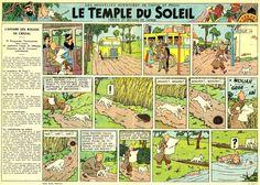 Première planche du Temple du Soleil parue dans le priemier numero du Jounal de Tintin du 26 Septembre 1946.