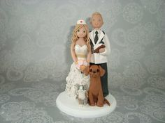 Doctor & Nurse with Pets Custom Wedding Cake Topper by mudcards, $185.00