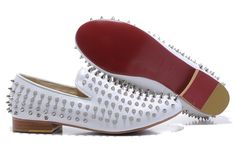 a0038e7a4a8 Christian Louboutin Rollerboy Spike Leather Loafers White
