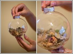 Place your dried wedding bouquet into a clear Christmas ornament, save forever.