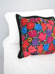 Embroidered Mexican pillow cover Telar black made in Chiapas, Mexico