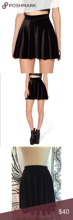Blackmilk Velvet Black Skater Skirt Worn once. High-waisted skater skirt. Super soft. 90% Polyester, 10% Elastane. Blackmilk Skirts Circle & Skater