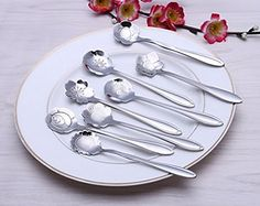 Creative Elegant Flowers Shape Stainless Steel Coffee Tea >>> To view further for this item, visit the image link. Coffee Spoon, Elegant Flowers, Flower Shape, Stainless Steel, Plates, Tea, Travel Mugs, Canning, Tableware