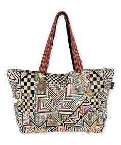 White & Red Abstract Obsidian Tote