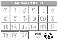 Tarjetas numeradas. Números del 0 al 20 para colorear.