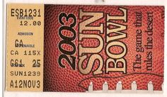 2003 Sun Bowl Game Ticket Stub Minnesota Oregon....if you like this you can find many more college bowl game tickets for sale at.....www.everythingcollectibles.biz