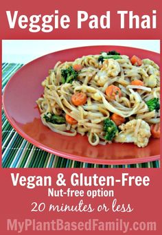 Veggie Pad Thai is a quick, easy and delicious meal the whole family will enjoy!  #Vegan #glutenfree #nutfree This recipe serves 2-3 adults or 2 adults and 2 small children. Ready in 20 minutes or less!