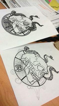 skull draw drawing design tattoo octopus #madebyme sketch