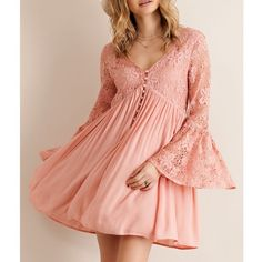 """Scheherazade"" Lace Bell Sleeve Dress Bell sleeve lace mini dress with button detail in front. Available in pink and cream. Fully lined, non sheer. This listing is for the PINK. Brand new. True to size. NO TRADES DON'T ASK. Bare Anthology Dresses Mini"
