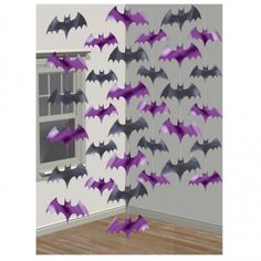 Six strings of bats made from plastic/foil. Each string is 7ft (2.1m) long...that's 42ft of decrations!  The perfect decorations for Halloween...much scarier than a pumpkin!