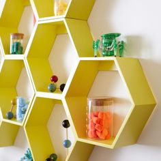 When designing these honeycomb wall shelves, we thought it was a great idea to make them a unique shape that can be oriented in any direction. We thought it was a bad idea to include a complimentary bee colony. Honeycomb Shelves, Hexagon Shelves, Chloe, Kitchen Themes, Bedroom Themes, Bedrooms, My New Room, Book Shelves, Kids Wall Shelves