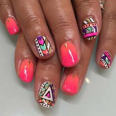 New french pedicure designs summer fingers 39 Ideas Tribal Nail Designs, Bright Nail Designs, Tribal Nails, Short Nail Designs, Toe Nail Designs, Nails Design, Diy Nails, Cute Nails, Bright Summer Nails