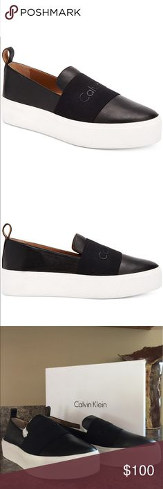 Calvin Klein Jacinta Slip-on Platform Sneaker Bought a back up pair in case I trashed my own. Love these shoes. Very comfy. Brand spankin new in the box. Color is Black with a thick White sole. Size is 8. Calvin Klein Shoes