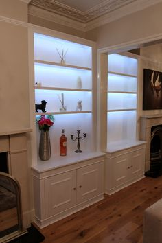 Bookshelves with LED lighting (Chiswick) Alcove Storage, Alcove Shelving, Room Shelves, Shelving Ideas, Tv Stand Bookshelf, Bookshelf Lighting, Living Room Cupboards, Alcove Cabinets, Mdf Furniture