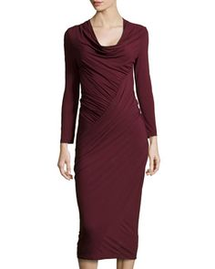 Draped+Jersey+Dress,+Claret++by+Donna+Karan+at+Neiman+Marcus.