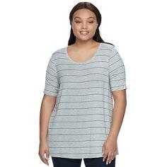 Juniors' Plus Size SO® Elbow Sleeve Tunic Tee, Teens, Size: 3XL, Med Grey