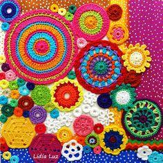 Lidia Luz: Sóis, crochê sobre tela