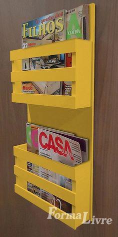 revisteiro porta revista de parede decorativo - amarelo laca