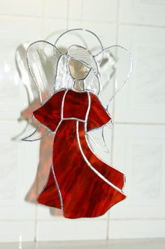 Stained Glass Red Angel on Etsy, $36.00