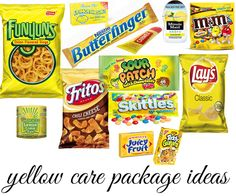 Care Package - yellow theme  (forgot Gushers)