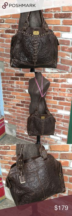 "🆕/RePosh/Frye Braid & Lace Leather Handbag/DrkBrn 🆕👜/RePosh/Purchased form a lovely CH hoping bag was lrg enough 4 all my items/& it's very roomy, not quite big enough 4 me/So reposh/EUC FRYE Braid & Lace Handbag/made in crinkle drk brown leather w intricate Braiding in Lace look pattern w brass tone studs intertwined/14.5""Lx13.5""Hx4.5""D Cloth lined w roomy inside/1 backwall zipper compartment/& 2 open slip pockets on other interior wall/Brass tone Hardware/Zipper Close/Frye Hangtag…"