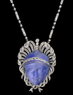 Art Nouveau, Belle Epoque, and Edwardian Jewelry ~ carved sapphire face pendant with platinum and diamonds Edwardian Jewelry, Antique Jewelry, Vintage Jewelry, Edwardian Style, Bijoux Art Nouveau, Art Nouveau Jewelry, Jewelery, Jewelry Necklaces, Jewelry Box