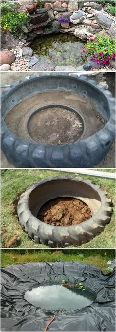 Tutorial to Make a Pond with a Recycled Tire Flowers, Plants & Planters #recycling