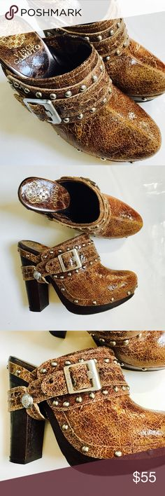 PERFECT FOR COACHELLA FESTIVAL women's distressed mule clog by Vince Camino. Gorgeous design and detail truly the most perfect shoe for your music festivals and Coachella. Super hip, boho cool. Studded design throughout. Worn twice ships without a box. Size women's 7.5, but can fit a 7 as well Vince Camuto Shoes Mules & Clogs