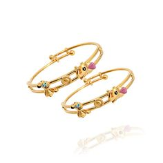 Special Kids Collection Elephant Face And Pluto Gold Bangle