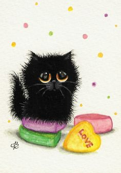 """Black Cat Valentine Love Heart Candy"" par AmyLyn Bihrle"