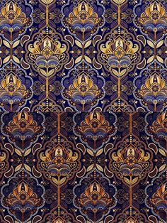 Vector seamless pattern for background, wrapping, wallpaper, textile and more. Pattern Art, Pattern Design, Textures Patterns, Print Patterns, Molduras Vintage, Paisley, Art Nouveau, Art Deco, Best Background Images