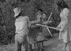 Una familia moliendo caña con un trapiche casero en Utuado, Puerto Rico (1941)