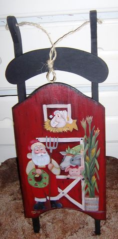 Sled with farmer Santa and his animals Christmas Sled, Father Christmas, Country Christmas, Christmas Projects, All Things Christmas, Xmas, Christmas Ornaments, Santa Clause, Tole Painting