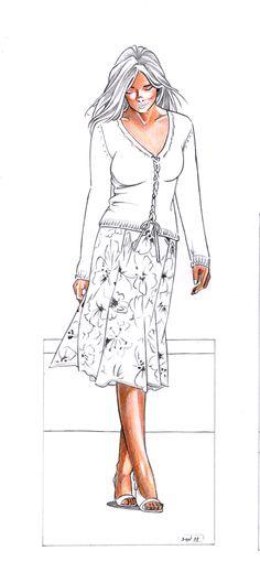 women portrait lineart fashion model