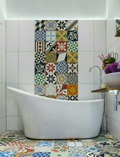 Strip of tiles running up the wall behind the basin or bath Eclectic Bathroom by Cassidy Hughes Interior Design & Styling Eclectic Bathroom, Bathroom Interior, Modern Bathroom, Colourful Bathroom Tiles, Eclectic Tile, Bad Inspiration, Bathroom Inspiration, Bathroom Renos, Small Bathroom