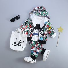 [~$15]  Baby clothes sale!  New Kid Baby Boy Girls Clothing Sets Fashion Print Cartoon Casual Toddler Girls Baby Suit for Boys Coat + T shirt + Pants1 - 4 Y