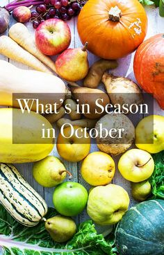 What's in season in October? Check out our seasonal October Produce Guide and recipes for pears apples pumpkin kabocha butternut squash delicata squash parsnips chard and ginger Pear Recipes, Simply Recipes, Fall Recipes, Avocado Dip, Fresh Avocado, Raw Vegetables, Fruits And Veggies, Whats In Season, Food Safety Tips