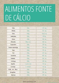 Alimentos fonte de cálcio