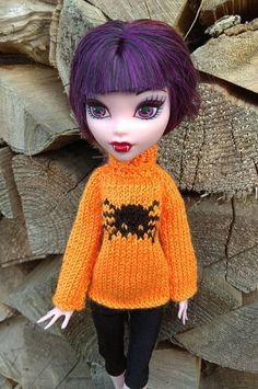 Monster High doll clothes. Halloween orange sweater & black