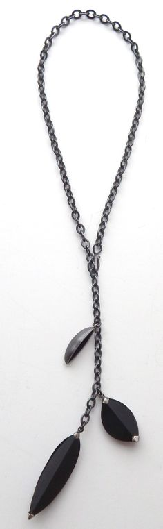 Terri Logan oxidized sterling silver with faceted basalt necklace.  Available at goodgoods.com