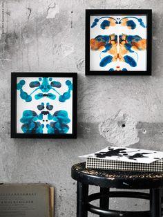 """Ett spännande och dekorativt DIY är att göra tryck inspirerade av det mytomspunna Rorschachtestet. Genom att titta på och berätta vad de symmetriska bilderna föreställer avslöjas hemligheter från testpersonens undermedvetna, en perfekt """"conversation piece"""" att hänga på väggen alltså!"""