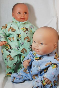 15 Inch Doll Flannel footed pajamas - Racoons - pinned by pin4etsy.com