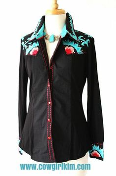 Brands :: Vintage Collection :: VINTAGE COLLECTION SPRING 2014 BLACK EMBROIDERED SUNSHINE WESTERN SHIRT! - Native American Jewelry|Ladies We...