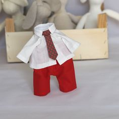 Items similar to Boy Doll Clothes Set 12 inch Doll Pants Shirt and Tie set - fits my 12 inch Bunny Rabbit Doll - red pants white shirt brown-red dots tie on Etsy Boy Doll Clothes, Pant Shirt, Red Pants, Tie Set, Bunny Rabbit, Outfit Sets, Dolls, Brown, Shirts