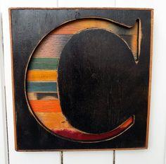"Medium 15"" Bold Times New Roman Letter ""C"" Reverse Shadow Box Initial -  Rustic Wooden A B C D E F G H I  J K L M N O P Q R S T U V W X Y Z"