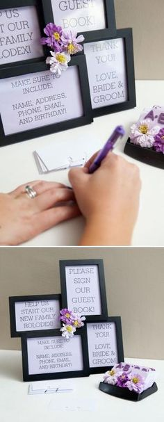genius - Guest book rolodex--really like this!! and then maybe a note for the bride and groom on the back?! by Karen Barber