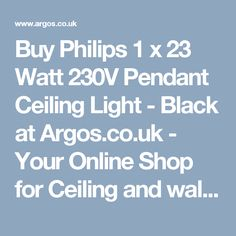 Buy Philips 1 x 23 Watt 230V Pendant Ceiling Light - Black at Argos.co.uk - Your Online Shop for Ceiling and wall lights, Lighting, Home and garden.