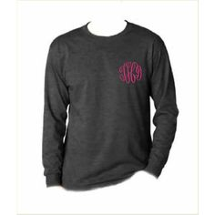 Monogrammed Long Sleeve T Shirt ($22) ❤ liked on Polyvore featuring tops, t-shirts, dark olive, women's clothing, long sleeve shirts, collared shirt, stitch t shirt, embroidery t shirts and olive t shirt