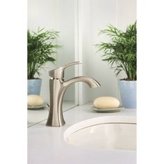 Moen 6903BN Voss One Handle High Arc Bathroom Faucet w/Metal Drain Brushed Nickel-eFaucets.com